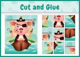 jogo de tabuleiro infantil recortar e colar temático da Páscoa com uma ilustração de um porco pirata fofo no navio vetor