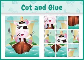 jogo de tabuleiro infantil recortar e colar temático da Páscoa com uma ilustração do personagem pirata unicórnio fofo no navio vetor