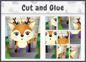 jogo de tabuleiro infantil, recortado e colado com uma ilustração do personagem fofo veado rei vetor