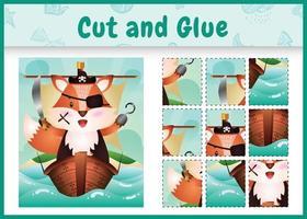 jogo de tabuleiro infantil recortar e colar temático da Páscoa com uma ilustração do personagem pirata raposa fofa no navio vetor
