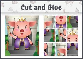 jogo de tabuleiro infantil recortado e colado com uma ilustração de um fofo rei porco vetor