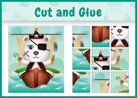 jogo de tabuleiro infantil recortar e colar temático da Páscoa com uma ilustração do personagem do urso polar pirata fofo no navio vetor