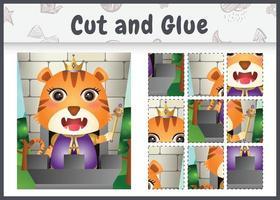 jogo de tabuleiro infantil, recortado e colado com uma ilustração do personagem bonito rei tigre vetor