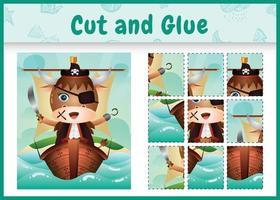 jogo de tabuleiro infantil recortar e colar temático da Páscoa com uma ilustração de um lindo búfalo pirata no navio vetor