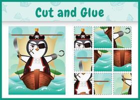 jogo de tabuleiro infantil recortar e colar temático da Páscoa com uma ilustração de um pinguim pirata fofo no navio vetor