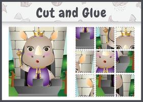 jogo de tabuleiro infantil recortado e colado com uma ilustração fofa do personagem rei rinoceronte vetor