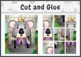 jogo de tabuleiro infantil recortado e colado com uma ilustração fofa do personagem rei coala vetor