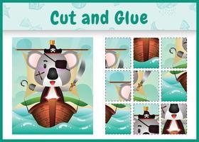 jogo de tabuleiro infantil recortar e colar temático da Páscoa com uma ilustração de um coala pirata fofo no navio vetor