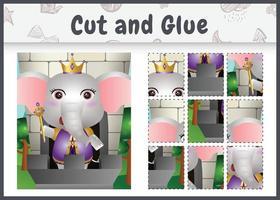 jogo de tabuleiro infantil recortado e colado com uma ilustração do personagem elefante rei vetor