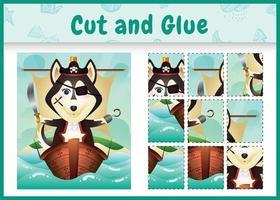 jogo de tabuleiro infantil recortar e colar temático da Páscoa com uma ilustração de um lindo cão pirata husky no navio vetor