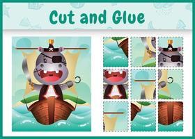 jogo de tabuleiro infantil recortar e colar temático da Páscoa com uma ilustração de um hipopótamo pirata fofo no navio vetor