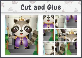 jogo de tabuleiro infantil recortado e colado com uma ilustração fofa do personagem rei guaxinim vetor