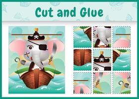 jogo de tabuleiro infantil recortar e colar temático da Páscoa com uma ilustração de um fofo elefante pirata no navio vetor