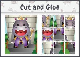 jogo de tabuleiro infantil recortado e colado com uma ilustração fofa do personagem rei hipopótamo vetor