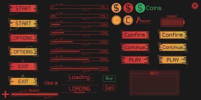 elementos da interface do usuário do jogo definidos em estilo digital. vetor