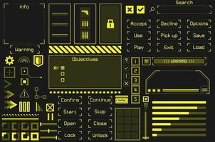 conjunto de elementos da interface do usuário do jogo. vetor