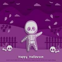 feliz festa de halloween em papel arte estilo com criança vestindo uma fantasia de fantasma de esqueleto. cartão de felicitações, cartazes e papel de parede. ilustração vetorial. vetor