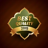 melhor qualidade de símbolo de design de distintivo de rótulo dourado de 2015 vetor