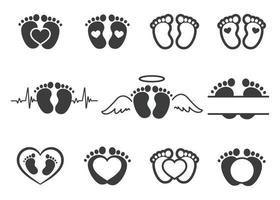 desenho vetorial de pegadas de bebê recém-nascido com formas de coração com espaço para adicionar texto. vetor