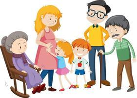 membro do personagem de desenho animado da família em fundo branco vetor