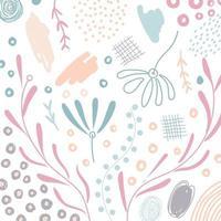 rabisco desenhado à mão abstrato forma orgânica floral, folhas, elementos naturais cor pastel em fundo branco vetor