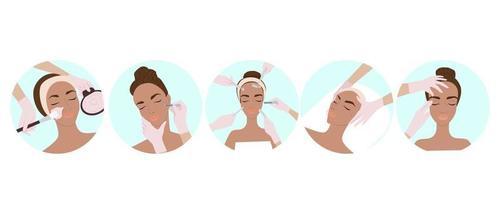 definido com diferentes tratamentos de beleza, injeções de beleza, cuidados corporais e faciais, massagem facial, cosmetologia, rosto feminino e cuidados, ilustração em vetor plana.