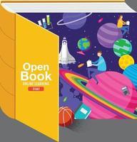 inspiração de livro aberto, aprendizagem on-line, estudo em casa, vetor de design plano de volta à escola.