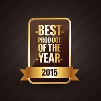 melhor produto do design de rótulo dourado do ano 2015 vetor