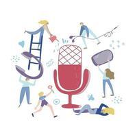conceito de bate-papo de áudio, podcast mostrar ilustração vetorial plana de mão desenhada. pessoas ouvindo juntas para a criação de chat de aodio, podcast, rádio. ilustração isolada vetor