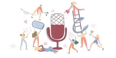 conceito clubhouse, podcast show mão desenhada ilustração vetorial plana. pessoas trabalhando juntas para a criação de podcast. ilustração isolada vetor