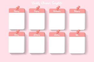 modelo de planejador semanal vetor