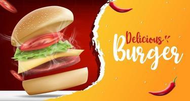 modelo de banner de anúncios de hambúrguer ou comida. delicioso hambúrguer caseiro com chili e churrasqueira, ilustração vetorial realista vetor