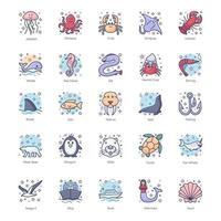 criaturas subaquáticas e marinhas vetor