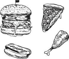 conjunto de fast food. estilo de desenho rabisco desenhado à mão vetor