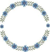 vetor moldura redonda de muitos ramos verdes com folhas e flores azuis escuras. a guirlanda dentro tem lugar para texto.