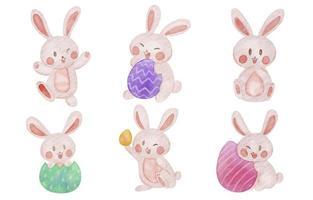 coleção fofa de coelho da páscoa em aquarela