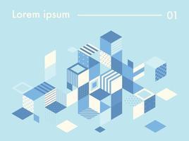quadrados com vários padrões espalhados para criar cubos. modelo de design de padrão simples. vetor