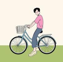 um menino está andando de bicicleta vetor