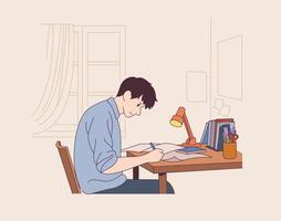 um estudante do sexo masculino está sentado em uma mesa e estudando vetor
