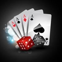 cartão de jogo e dadinhos vetor