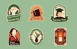 coleção de emblemas vintage do dia de kartini vetor