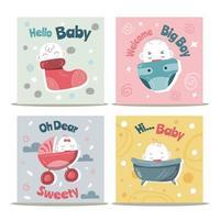 coleção de cartões de bebê fofo vetor