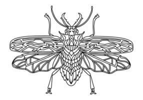 ilustração de livro de colorir linear de besouro de lenhador vetor