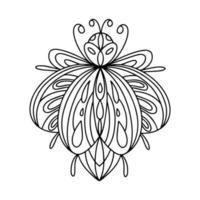 Ilustração linear de livro para colorir de besouro barbil alpino vetor