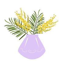 mimosas amarelas em um vaso lilás vetor
