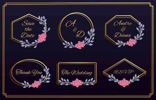 conjunto de logotipos florais de casamento e monograma vetor
