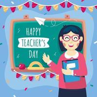 desenho animado do dia dos professores com um fundo de quadro-negro vetor