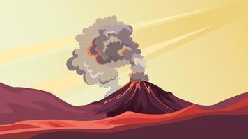 paisagem com vulcão ativo. vetor