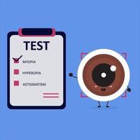 olho kawaii com resultado de teste de diagnóstico de miopia. vetor