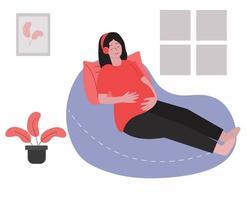 mulher grávida relaxando e ouvindo música vetor